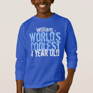 4th Birthday Gift World's Coolest 4 Year Old BLUE T-Shirt