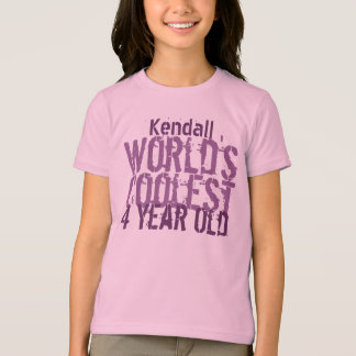 4th Birthday Gift World's Coolest 4 Year Old Girl T-Shirt