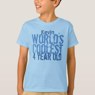 4th Birthday Gift World's Coolest 4 Year Old T-Shirt