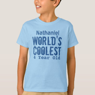 4th Birthday Gift World's Coolest 4 Year Old v10 T-Shirt