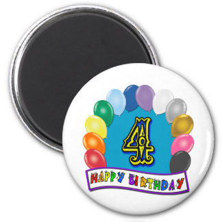 4th Birthday Gifts with Assorted Balloons Design 2 Inch Round Magnet