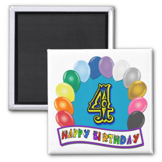 4th Birthday Gifts with Assorted Balloons Design 2 Inch Square Magnet