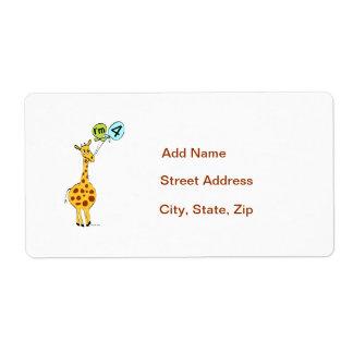 4th Birthday Giraffe Label