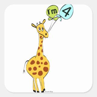 4th Birthday Giraffe Stickers