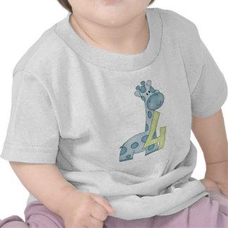 4th Birthday Giraffe Shirts