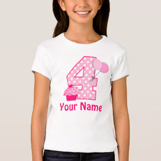 4th Birthday Girl Cupcake Personalized T-shirt