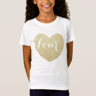 4th Birthday Girl Glitter heart Personalized T-Shirt
