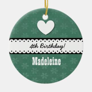 4th Birthday Girl Heart and Scalloped Ribbon A09Z Ceramic Ornament