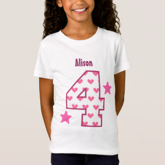 4th Birthday Girl HEARTS Four Year Custom V07B T-Shirt