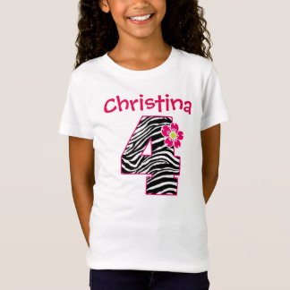 4th Birthday Girl Hot Pink & Black Zebra Pattern T-Shirt