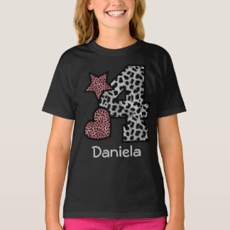 4th Birthday Girl LEOPARD 4 year old V44P T-Shirt