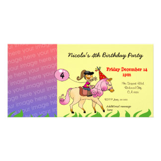 4th birthday girl party invitations (pink pony)