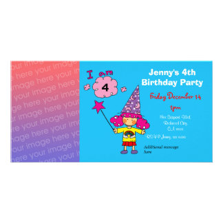 4th birthday girl party invitations (wizard) customized photo card