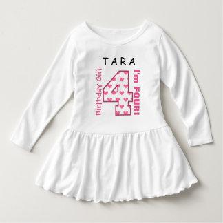 4th Birthday Girl Pink Hearts V01L Dress