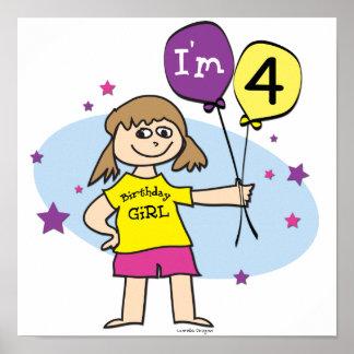 4th Birthday Girl Poster