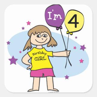 4th Birthday Girl Square Sticker