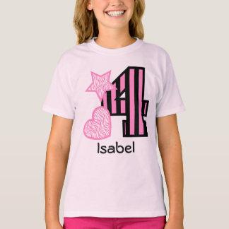 4th Birthday Girl STRIPES 4 year old V44B T-Shirt