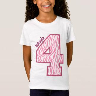 4th Birthday Girl Zebra Four Year Custom A001 T-Shirt