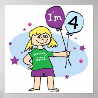 4th Birthday - Girls Birthday Poster