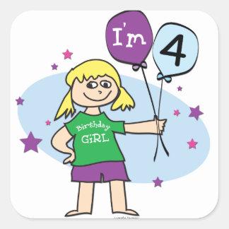 4th Birthday - Girls Birthday Square Sticker