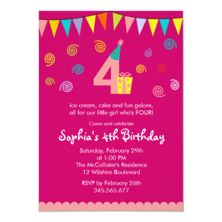 4th Birthday Girl's Cute Pink Party Invitation