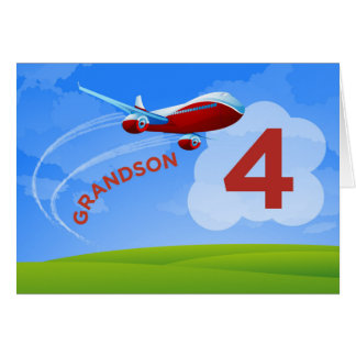 4th Birthday, Grandson, Red Airplane Card