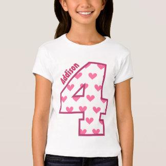 4th Birthday Hearts Four Year Custom Name V01H T-Shirt