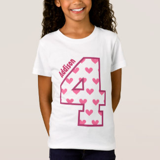 4th Birthday Hearts Four Year Custom Name V01H T-Shirt
