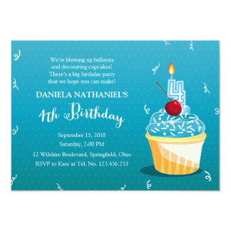 4th Birthday Ice Blue Cupcake Party Card