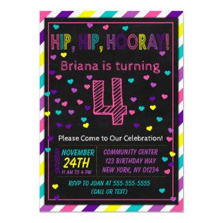 4th Birthday Invitation for a Girls Birthday Party