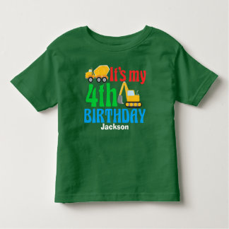 4th Birthday Kids Construction Vehicle Party Toddler T-shirt
