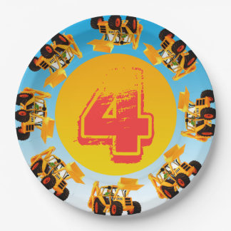 4th Birthday Kids Digger Construction Party 9 Inch Paper Plate