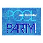 4th Birthday Kid's Pool Party Blue White V04 Custom Invites