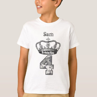 4th Birthday King Crown and Camouflage V01F T-Shirt