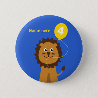 4th birthday lion add name blue button