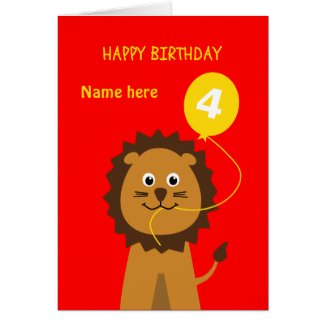 4th birthday lion add name childrens red card