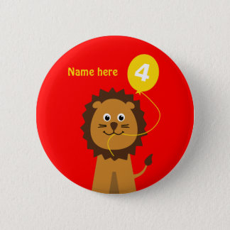 4th birthday lion add name red pinback button