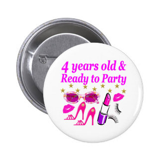 4TH BIRTHDAY LITTLE DIVA IS READY TO PARTY DESIGN PINBACK BUTTON