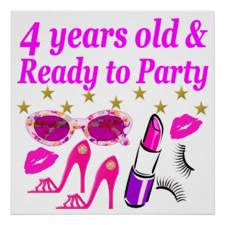4TH BIRTHDAY LITTLE DIVA IS READY TO PARTY DESIGN POSTER