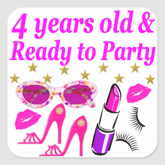 4TH BIRTHDAY LITTLE DIVA IS READY TO PARTY DESIGN SQUARE STICKER