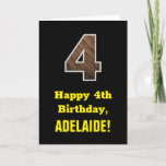 "[ Thumbnail: 4th Birthday: Name, Faux Wood Grain Pattern ""4"" Card ]"