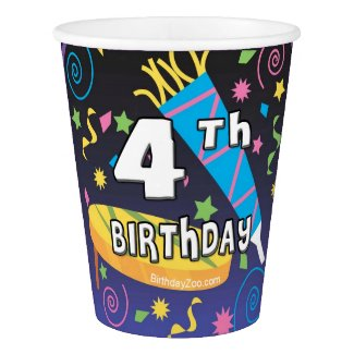 4th Birthday Paper Cup