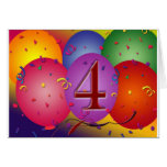 4th Birthday Party balloons Cards