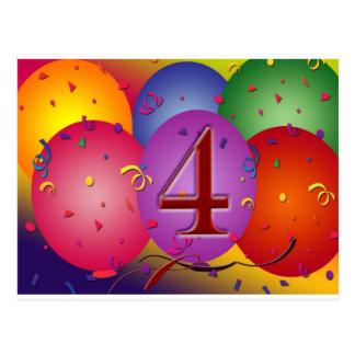 4th Birthday Party balloons Postcard