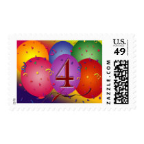 4th Birthday Party balloons Stamp