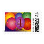 4th Birthday Party balloons Stamps