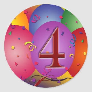 4th Birthday Party balloons Classic Round Sticker