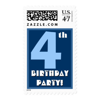 4th Birthday Party Big Bold Blue and White Stamp