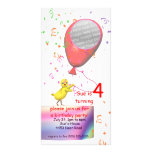 4th Birthday Party Chicken Invite Red Balloon Photo Card