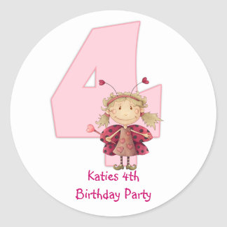 4th birthday party customizable sticker - cute